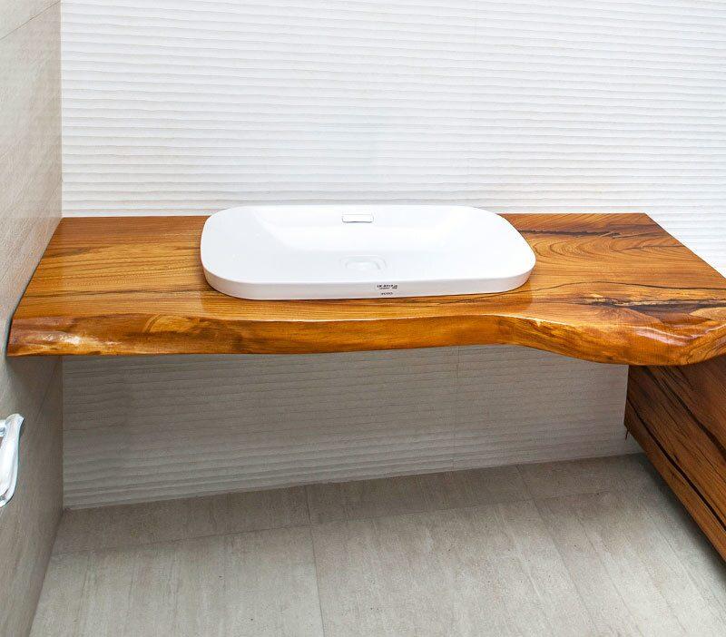 Деревянная столешница под раковину в ванной сторм спб столешница